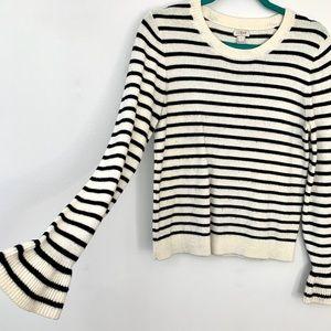 J. Crew Black & White Stripe Bell-Sleeve Sweater